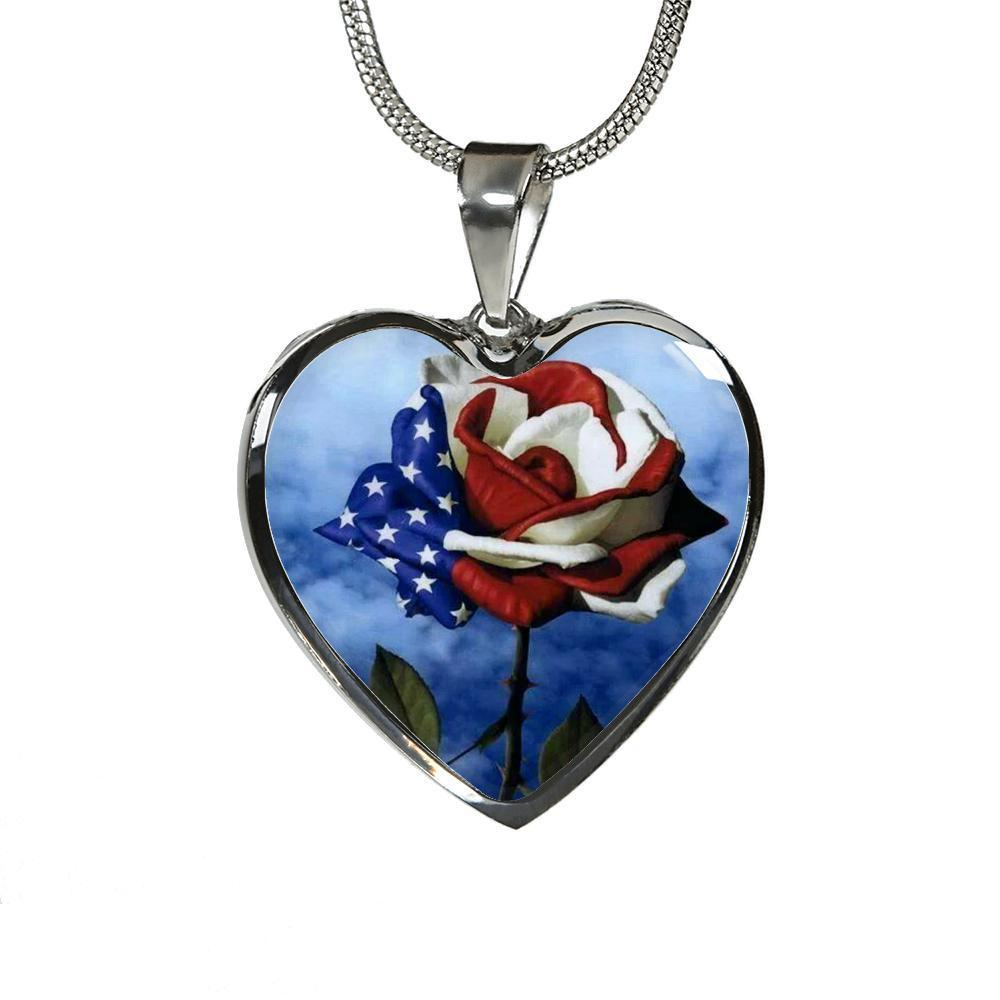 I Love My Country Heart Necklace-Jewelry-Coastal Passion