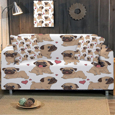 Sofa Slipcover-I Love My Pug Couch Cover-Coastal Passion