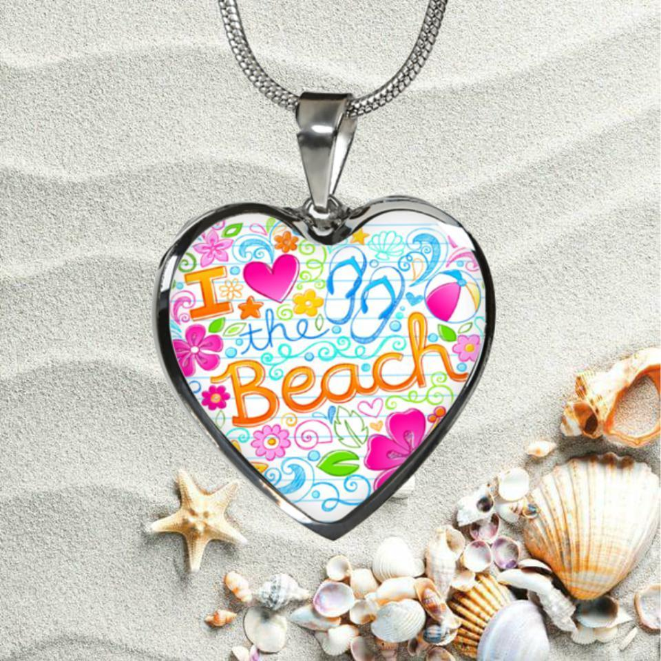 I Love The Beach Heart Necklace-Jewelry-Coastal Passion