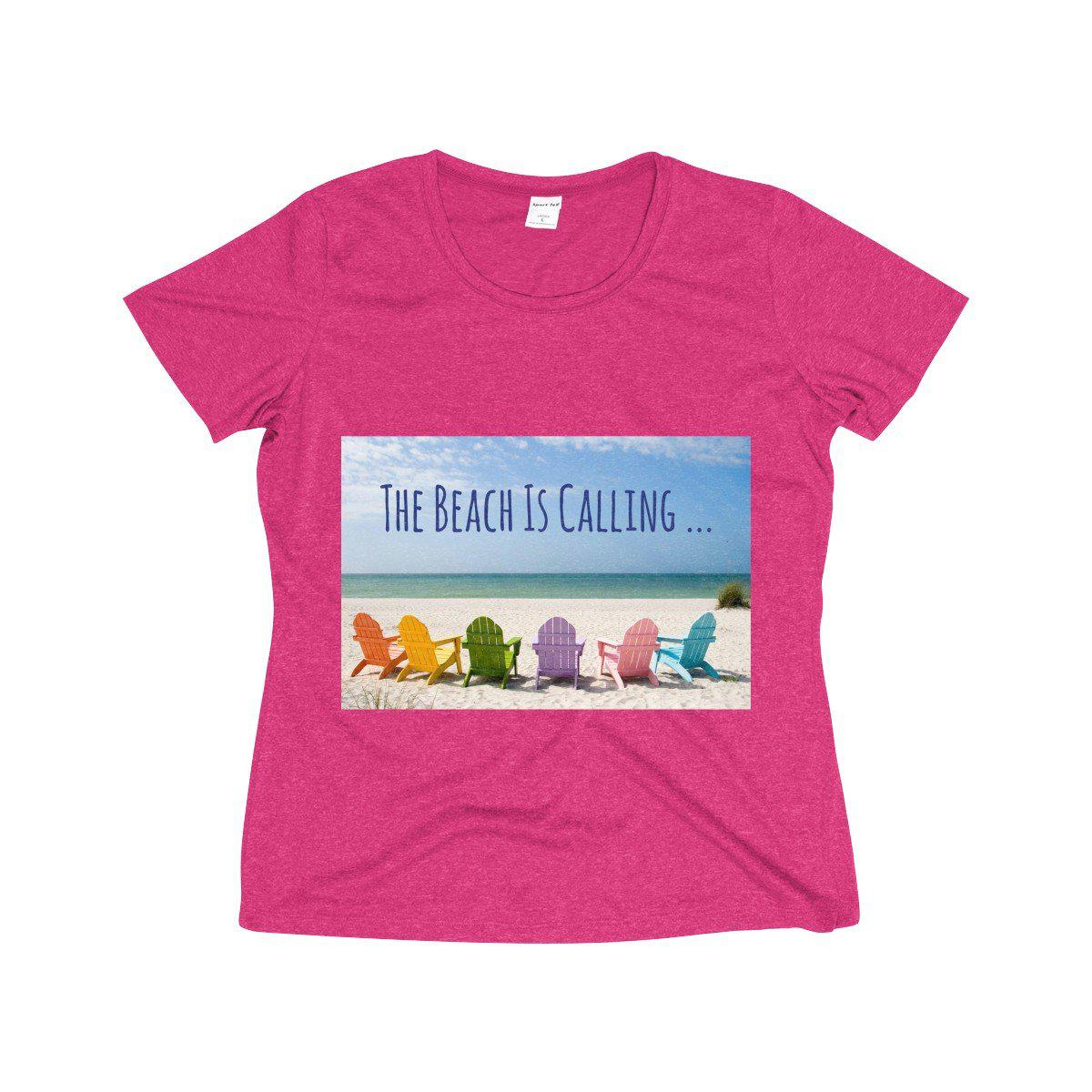 I Love The Beach Tee-T-Shirt-Pink Raspberry Heather-XS-Coastal Passion