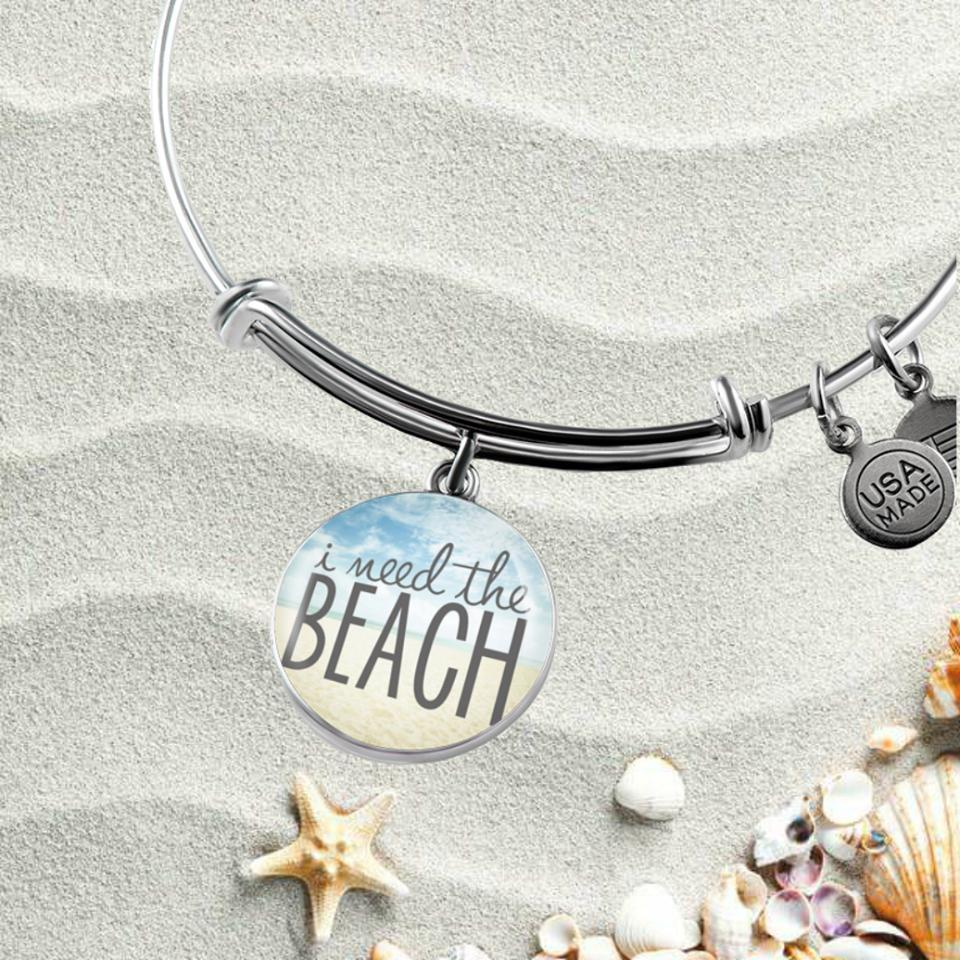 I Need The Beach Bangle Bracelet-Bangle Bracelet-Bangle-Bracelet adjustable-Coastal Passion