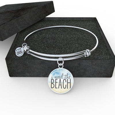 Easter Promo I Need The Beach Necklace-Jewelry-Luxury Bangle (Silver)-Coastal Passion