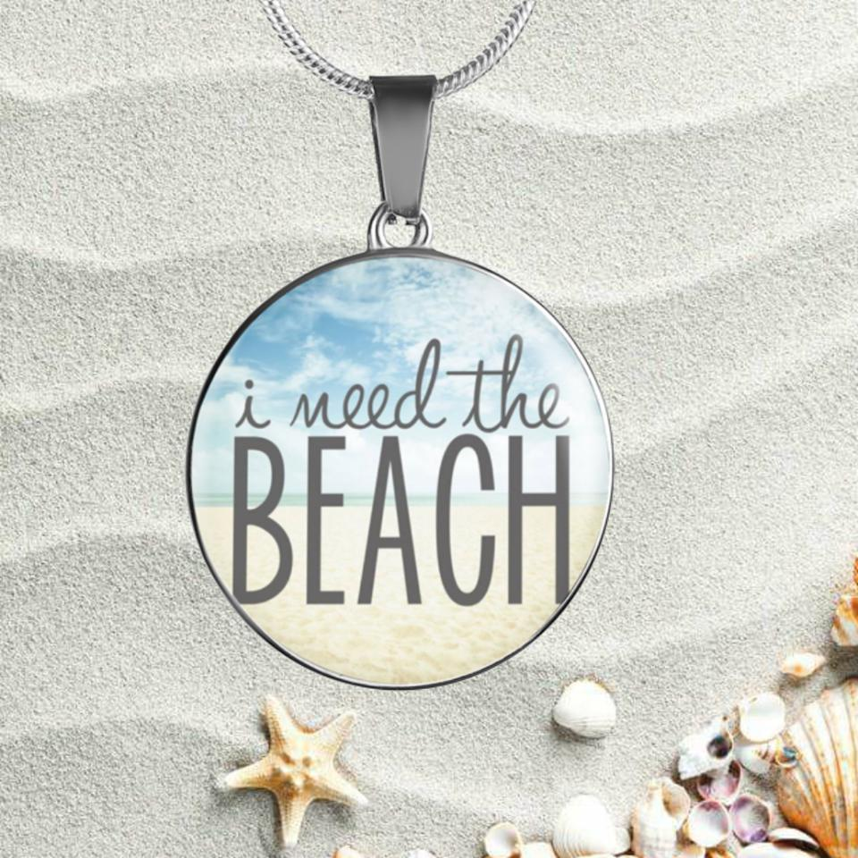 I Need The Beach Necklace-Jewelry-Luxury Necklace w/ adjustable snake-chain-Coastal Passion