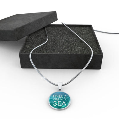 I Need Vitamin Sea Necklace-Jewelry-Luxury Necklace w/ adjustable snake-chain-Coastal Passion