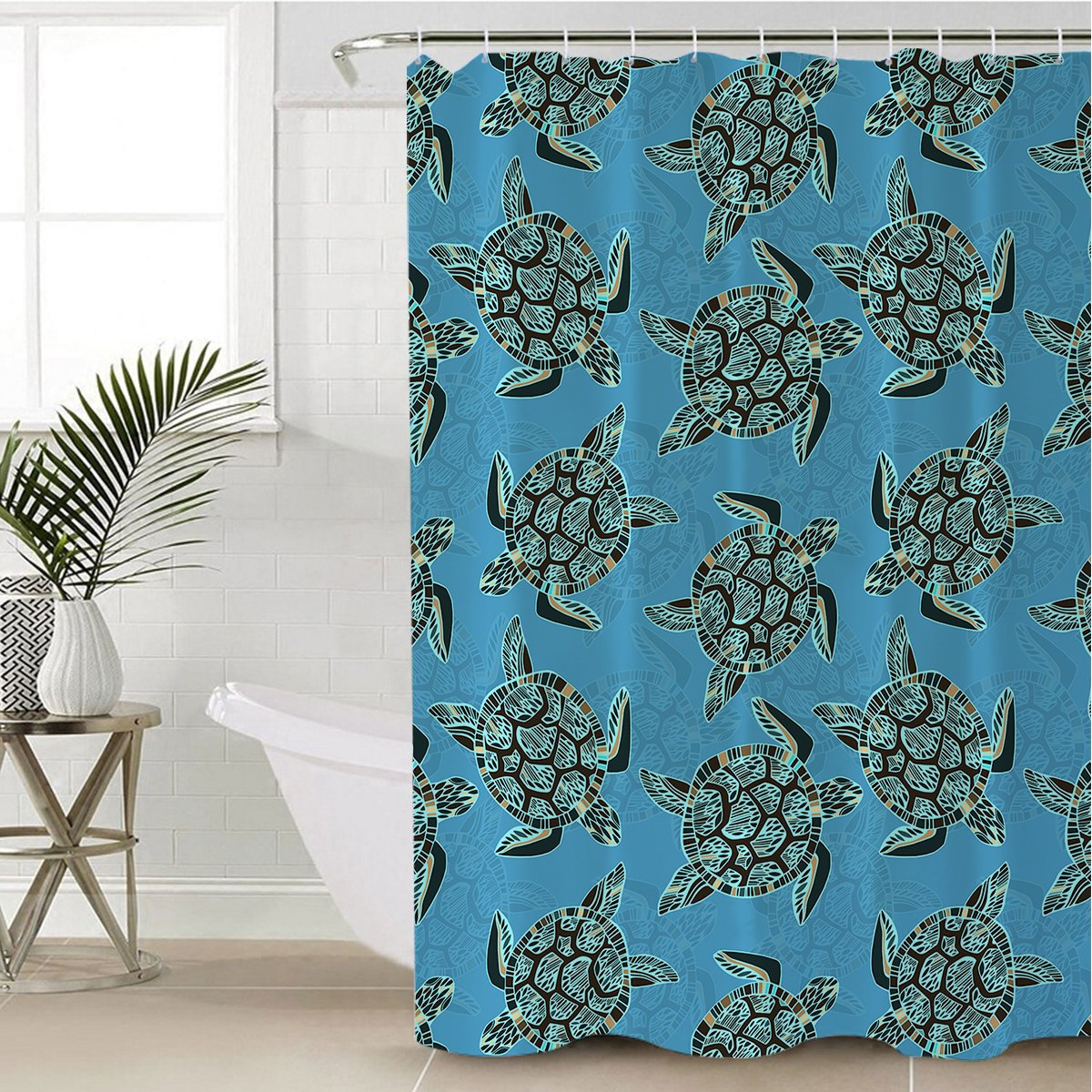 I Sea Turtles Shower Curtain-Coastal Passion