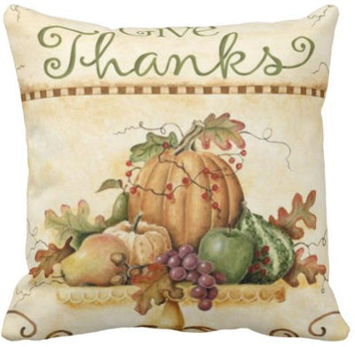 "I'm Thankful Collection-Pillow Cover-Design 1-17"" x 17""-Linen Blend-Coastal Passion"