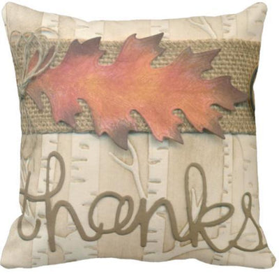 "I'm Thankful Collection-Pillow Cover-Design 2-17"" x 17""-Linen Blend-Coastal Passion"