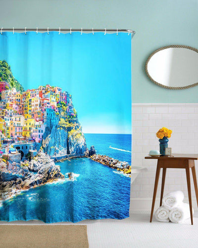 "Italy's Cinque Terre Shower Curtain-Shower Curtain-59"" L. x 70"" H.-Coastal Passion"