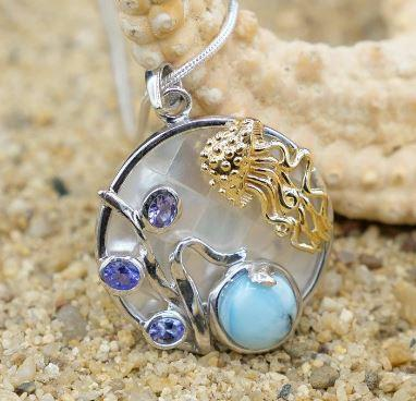 One of a Kind Necklace-Jellyfish Pendant Necklace with Larimar, Tanzanite and Mother of Pearl Mosaic-Coastal Passion