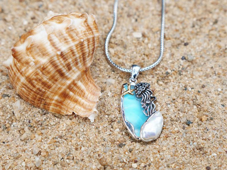 -Jellyfish Pendant with Larimar and Fresh Water Pearl - Only One Piece Created-Coastal Passion