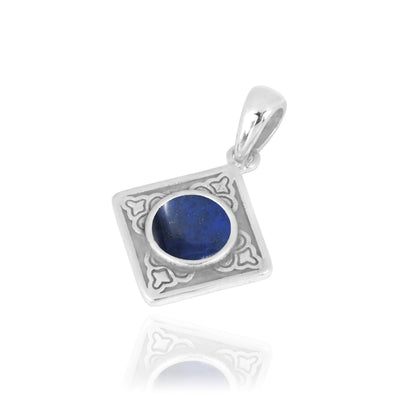 Pendant-Kite Shaped Aztec Sterling Silver Pendant with Round Lapis-Coastal Passion