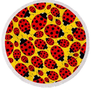Round Beach Towel-Ladybugs on The Beach Round Beach Towel-Coastal Passion