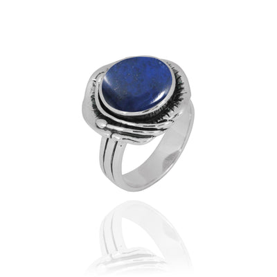 Ring-Lapis Lazuli Oxidized Silver Band Ring-Coastal Passion