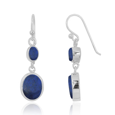 Earrings-Lapis Oxidized Silver Drop Earrings with 1 Oval Shape Lapis Stone-Coastal Passion