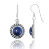 Earrings-Lapis Oxidized Silver French Wire Earrings-Coastal Passion