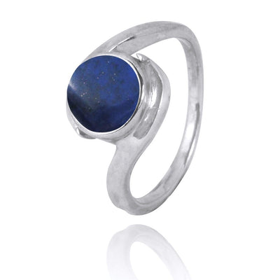 Ring-Lapis Oxidized Silver Solitaire Ring-Coastal Passion