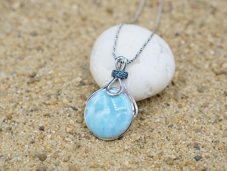 -Larimar Beach Pendant with Silver Infinity Studded with Blue Topaz - Only One Piece Created-Coastal Passion