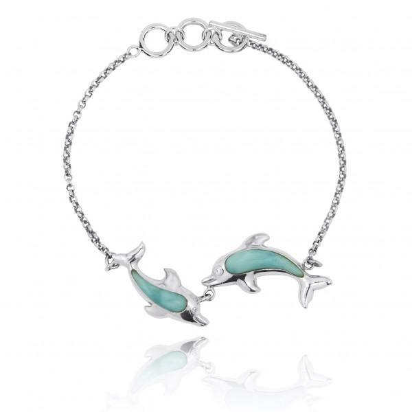 Playing Dolphins Bracelet with Larimar