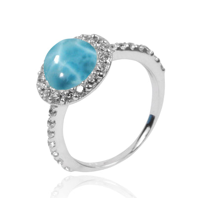 Ring-Larimar Cocktail Ring with 22 Round Shape White Topaz Stones and 8 Round Shape White Topaz Stones-Coastal Passion