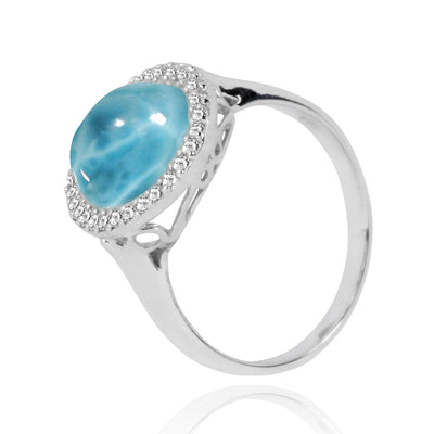 Ring-Larimar Cocktail Ring with 30 Round Shape White Topaz Stones-Coastal Passion