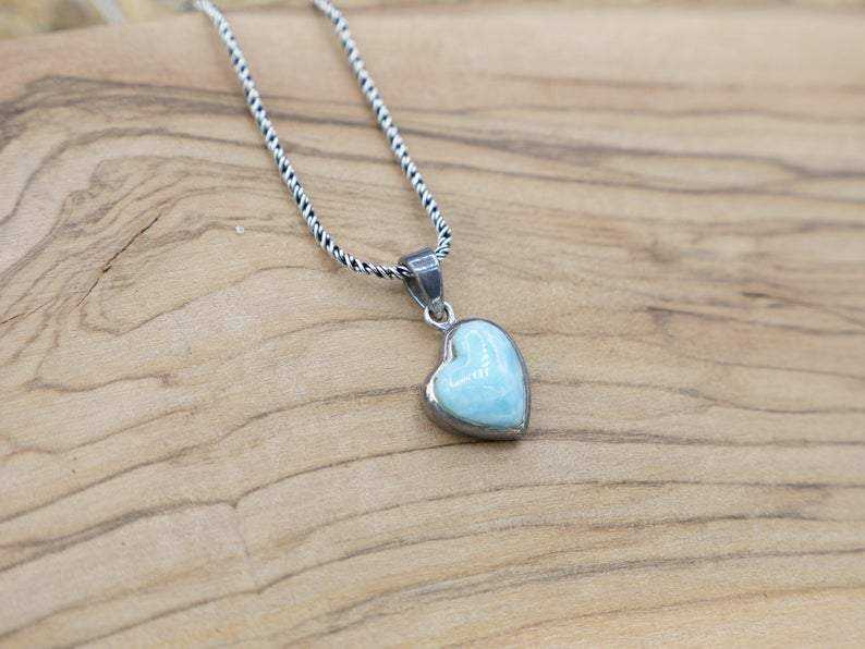 -Larimar Heart Beach Pendant - Custom Piece-Coastal Passion