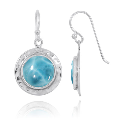 Earrings-Larimar Oxidized Silver Drop Earrings-Coastal Passion
