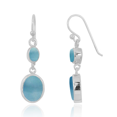 Earrings-Larimar Oxidized Silver Drop Earrings with 1 Oval Shape Larimar Stone-Coastal Passion
