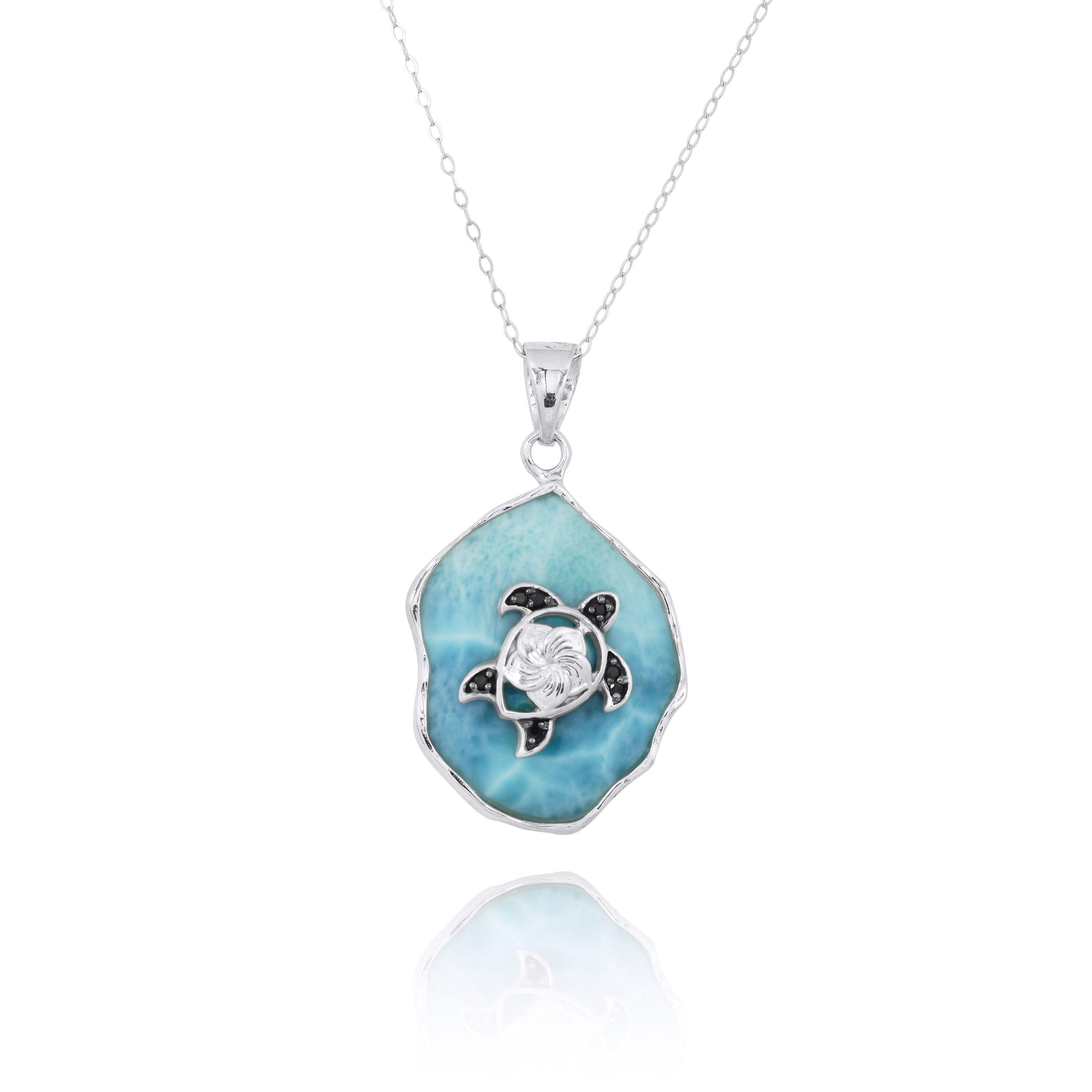 Larimar Pendant Necklace with Sterling Silver Turtle and Black Spinel