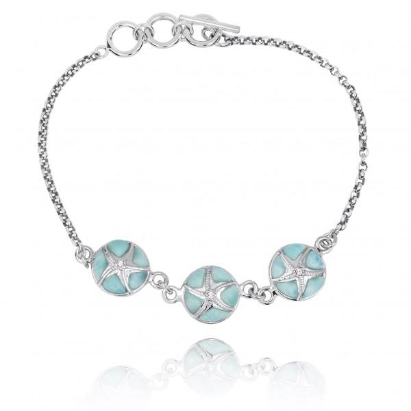 Bracelet-Larimar with Sterling Silver Starfish Chain Bracelet-Coastal Passion
