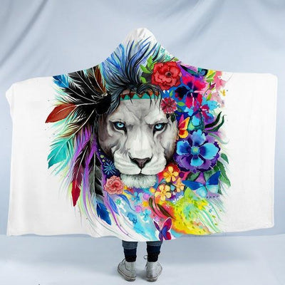 "Lazy Lion Vibes Cozy Hooded Blanket-Fleece Hooded Blanket-Adults: Size 80"" x 60""-Coastal Passion"