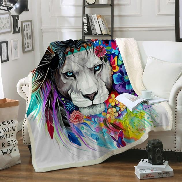 Lazy Lion Vibes Soft Sherpa Blanket