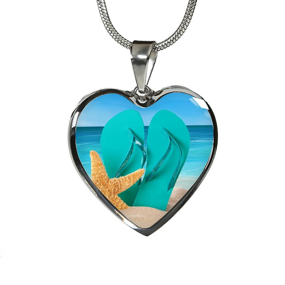 Life is Better In Flip Flops Heart Necklace / Bracelet-Jewelry-Luxury Necklace (Silver)-Coastal Passion