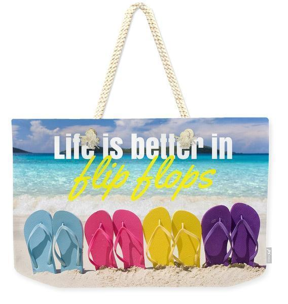Life is Better in Flip Flops Weekender Tote Bag Weekender Totes-Cotton rope-Coastal Passion