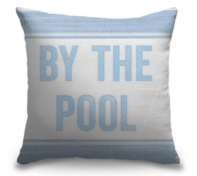 "Life Is Better Light Blue Series-Pillow Cover-17"" x 17""-Standard: Linen-Poly-By the Pool-Coastal Passion"