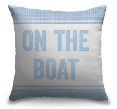 "Life Is Better Light Blue Series-Pillow Cover-17"" x 17""-Standard: Linen-Poly-On the Boat-Coastal Passion"