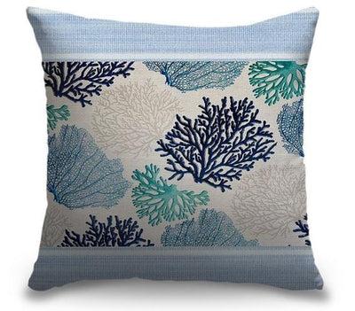 "Life Is Better Light Blue Series-Pillow Cover-17"" x 17""-Standard: Linen-Poly-Coral-Coastal Passion"