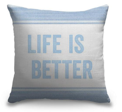 "Life Is Better Light Blue Series-Pillow Cover-17"" x 17""-Standard: Linen-Poly-Life is Better-Coastal Passion"