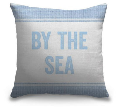 "Life Is Better Light Blue Series-Pillow Cover-17"" x 17""-Standard: Linen-Poly-By the Sea-Coastal Passion"