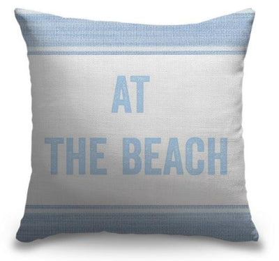 "Life Is Better Light Blue Series-Pillow Cover-17"" x 17""-Standard: Linen-Poly-At the Beach-Coastal Passion"