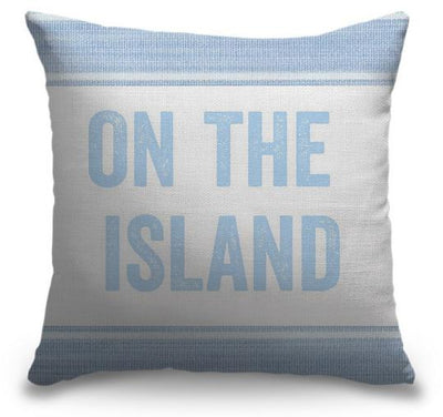 "Life Is Better Light Blue Series-Pillow Cover-17"" x 17""-Standard: Linen-Poly-On the Island-Coastal Passion"