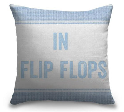 "Life Is Better Light Blue Series-Pillow Cover-17"" x 17""-Standard: Linen-Poly-In Flip Flops-Coastal Passion"