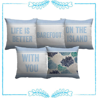 Life Is Better Light Blue Series-Pillow Cover-Coastal Passion