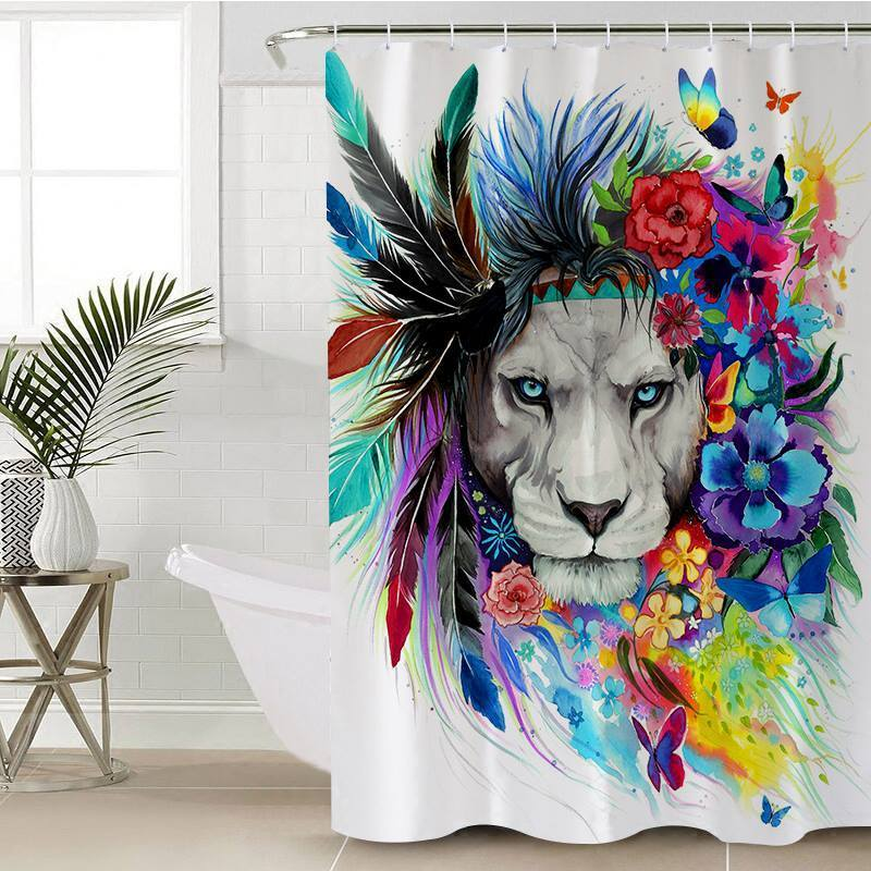 "Lion Vibes Shower Curtain-Shower Curtain-35"" x 70""-Coastal Passion"