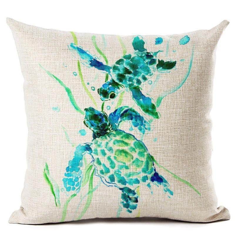 Little Sea Turtles Series NEW ARRIVALS!-Pillow Cover-Little Green Sea Turtles-Coastal Passion
