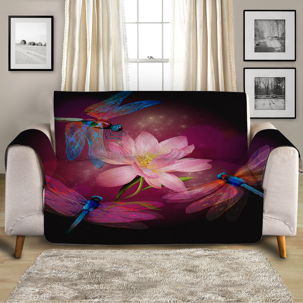 Dragonflies and Lotus Sofa Cover