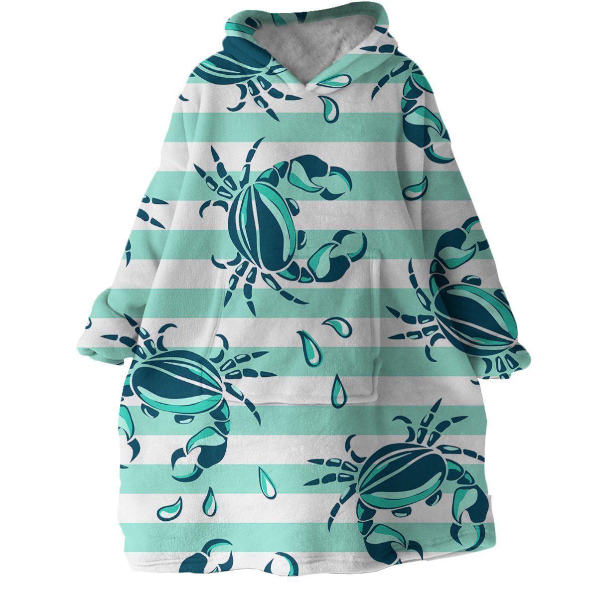 Lovely Little Crabs Wearable Blanket Hoodie-Coastal Passion