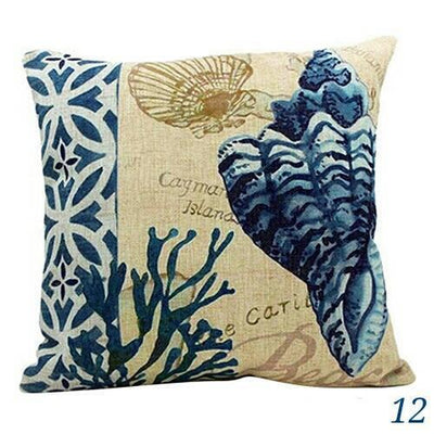 "MAXI Blue Ocean Series NEW!-Pillow Cover-Extra-Large 24"" x 24""-12 Conch Shell-Coastal Passion"