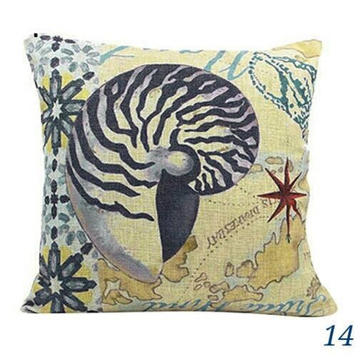 "MAXI Blue Ocean Series NEW!-Pillow Cover-Extra-Large 24"" x 24""-14 Turban Shell-Coastal Passion"