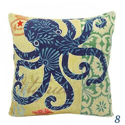 "MAXI Blue Ocean Series NEW!-Pillow Cover-Extra-Large 24"" x 24""-8 Octopus-Coastal Passion"