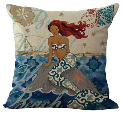 "MAXI Mermaid Collection NEW!-Pillow Cover-Standard: Cotton-Linen-Polyester-Extra-Large 24"" x 24""-2 - Mermaid on Rock-Coastal Passion"